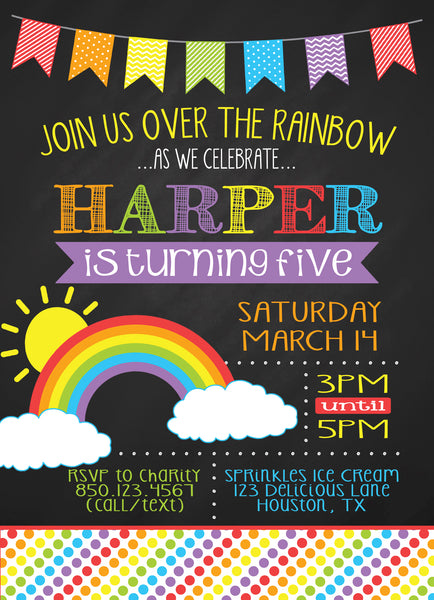 Chalkboard Rainbow Birthday Party Invitation