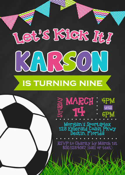 Soccer Chalkboard Invitation Girl Birthday Party