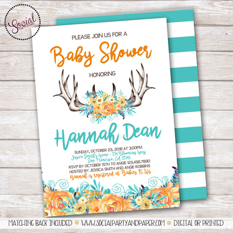 Antlers and Flowers Watercolor Baby or Bridal Shower Invitation