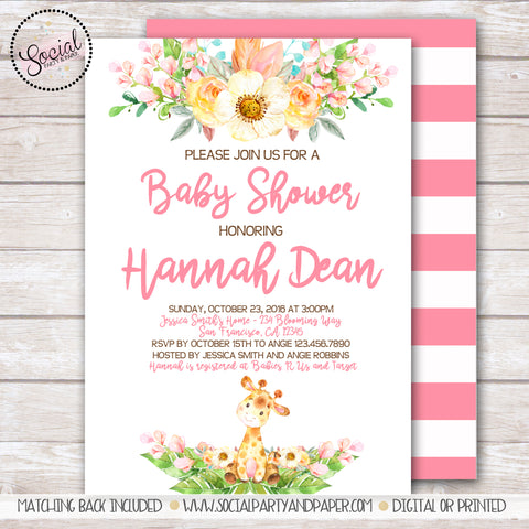 Giraffe Watercolor Baby Shower Invitation