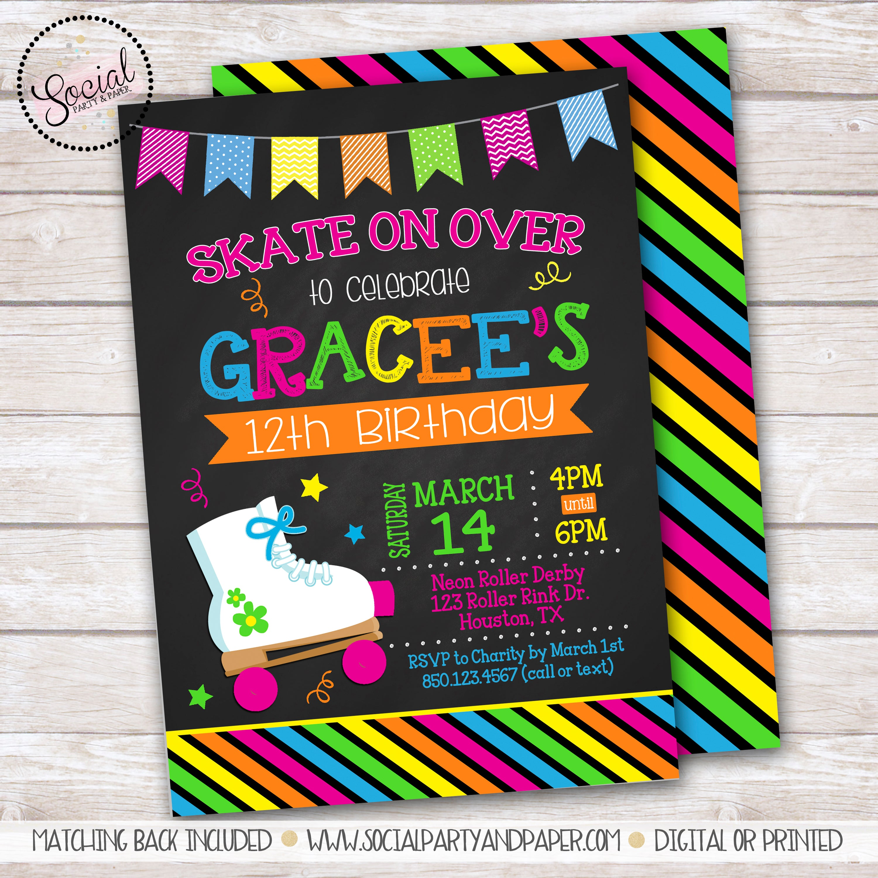 Chalkboard Skate Invitation Girl Birthday Party