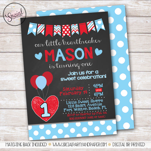 Valentine's Day Heartbreaker Boy Birthday Party Invitation