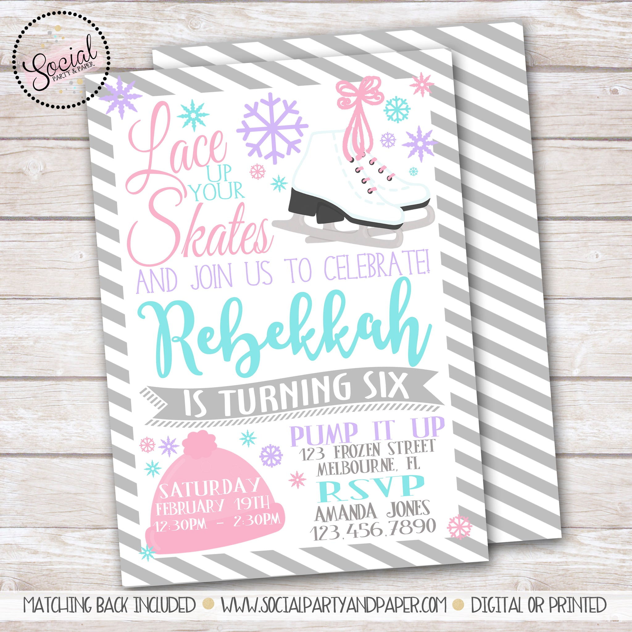 Ice Skating Watercolor Girl Birthday Party Invitation