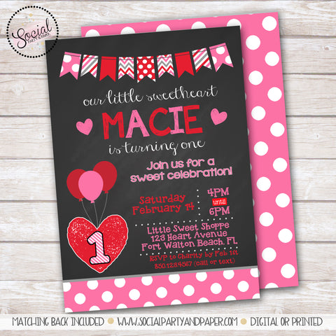 Valentine's Day Sweetheat Girl Birthday Party Invitation