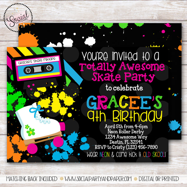 Retro 80s Skate Invitation Girl Birthday Party