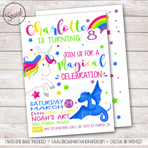 Unicorns and Dragons Fairytale Birthday Party Invitation