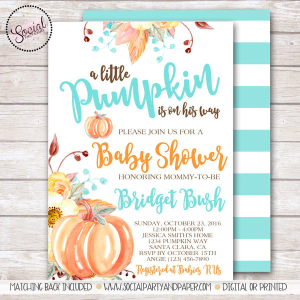 Pumpkin and Flowers Watercolor Baby Shower Invitation
