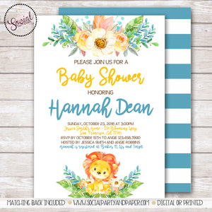 Lion Watercolor Baby Shower Invitation