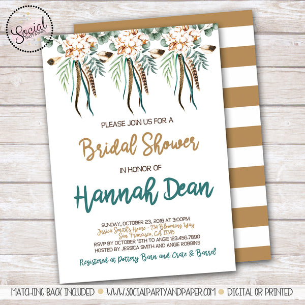 Boho Cotton Flowers and Feathers Bridal Shower Invitation