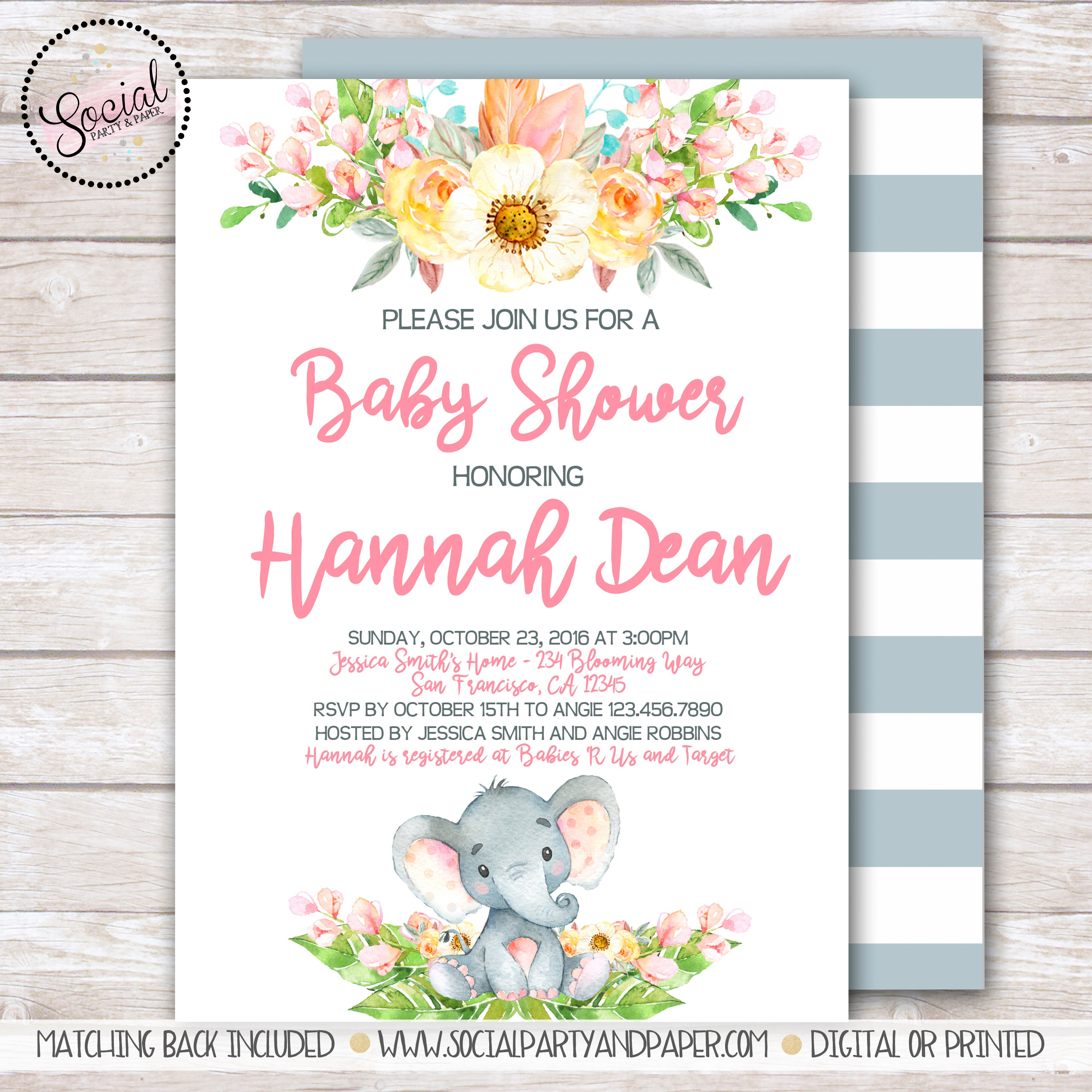 Elephant Watercolor Baby Shower Invitation