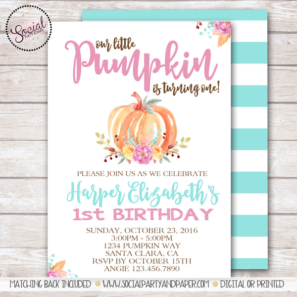 Pumpkin and Flowers Watercolor Girl Birthday Party Invitation