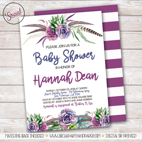 Boho Feathers and Flowers Watercolor Baby or Bridal Shower Invitation
