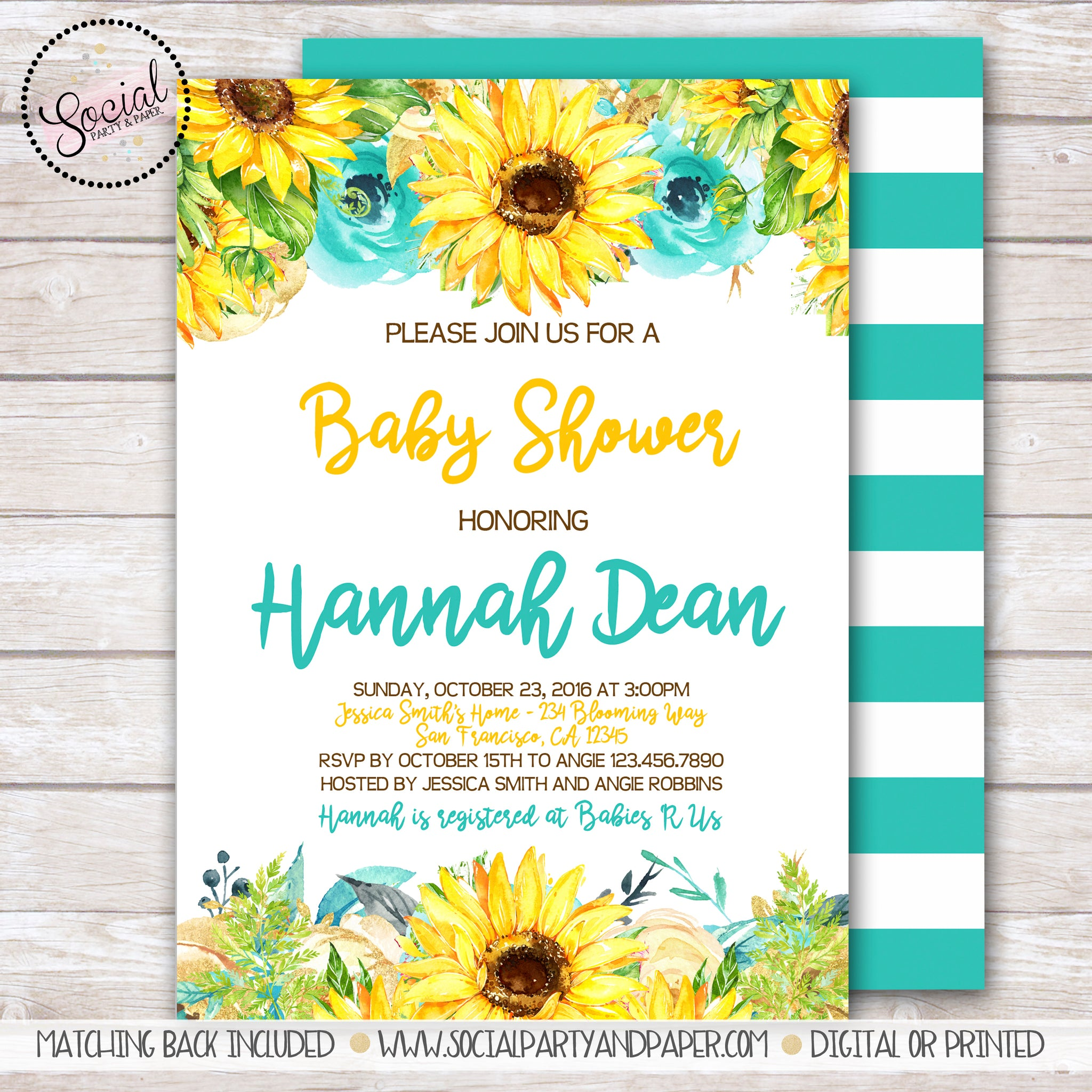 Watercolor Sunflowers Baby or Bridal Shower Invitation
