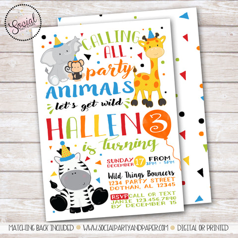 Party Animals Watercolor Invitation Boy Birthday Party