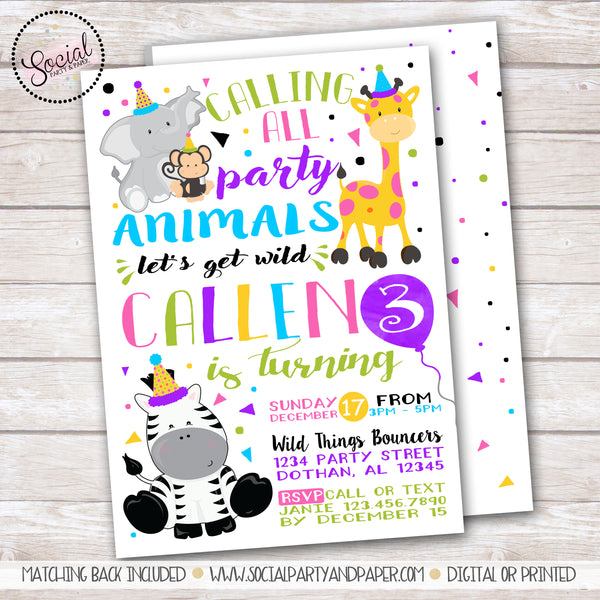 Party Animals Watercolor Invitation Girl Birthday Party