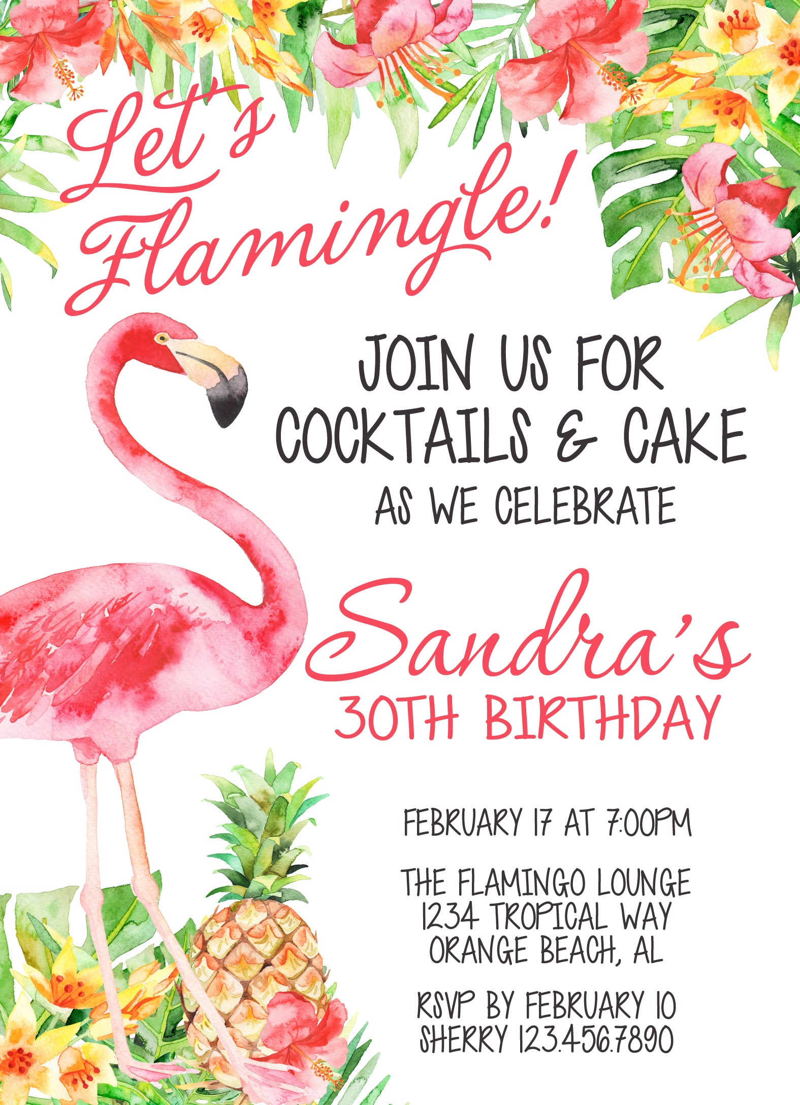 Watercolor Pink Flamingo, Pineapple and Hibiscus Tropical Birthday Invitation