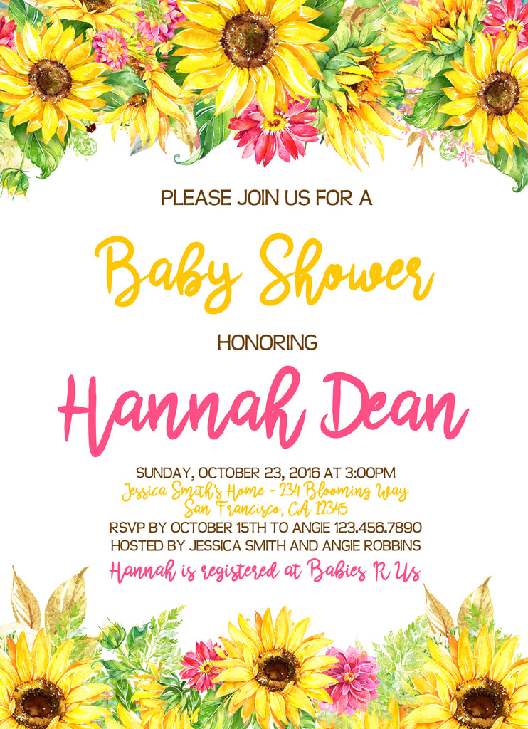 Watercolor Sunflowers Baby Or Bridal Shower Invitation Social
