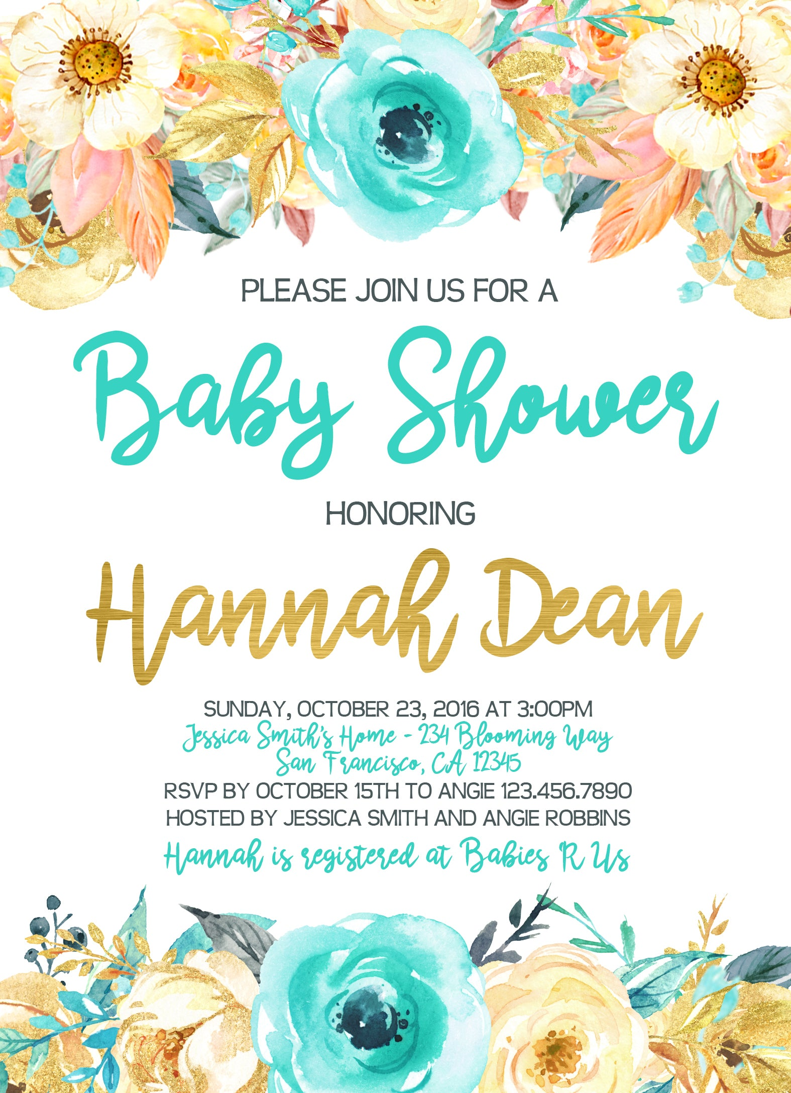 Watercolor Flowers Baby or Bridal Shower Invitation