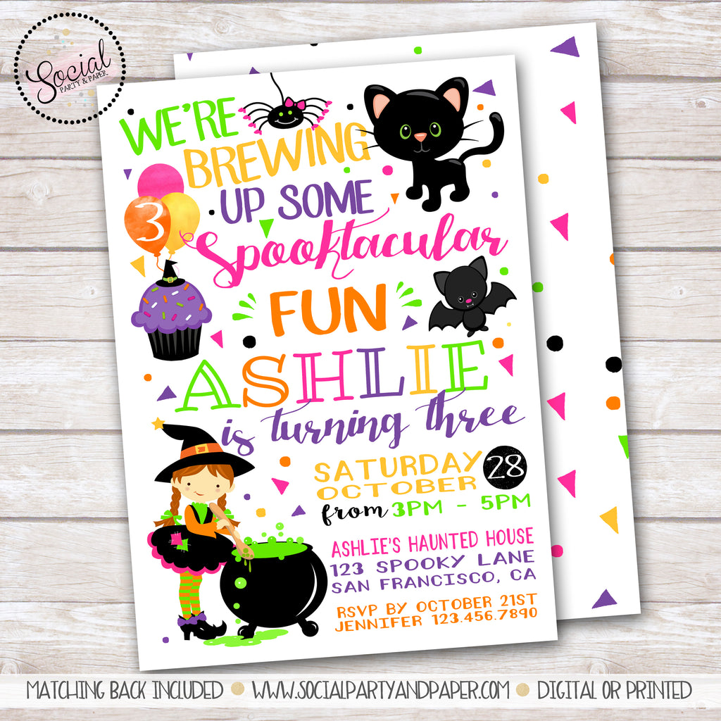 Halloween Witch Girl Birthday Party Invitation