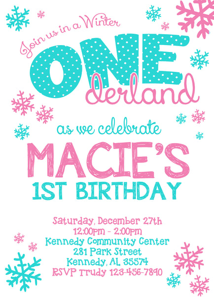 Winter Onederland Girl Birthday Party Invitation