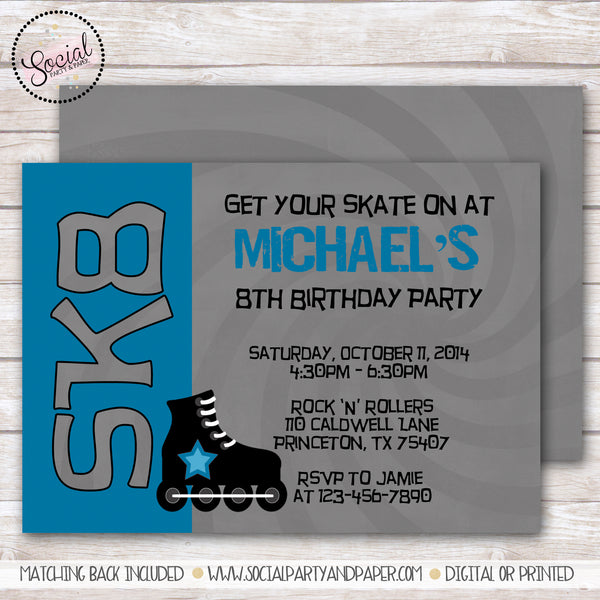 Skate Boy Birthday Party Invitation