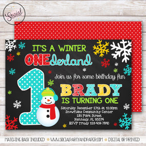 Snowman Winter Onederland Boy Birthday Party Invitation