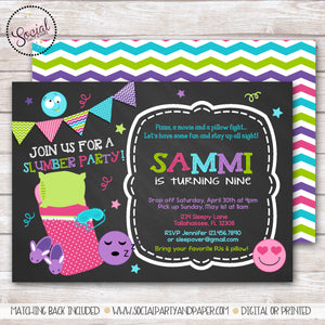 Emoji Sleepover Chalkboard Invitation Girl Birthday Party