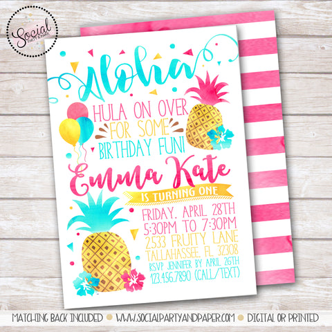 Pineapple Watercolor Girl Birthday Party Invitation