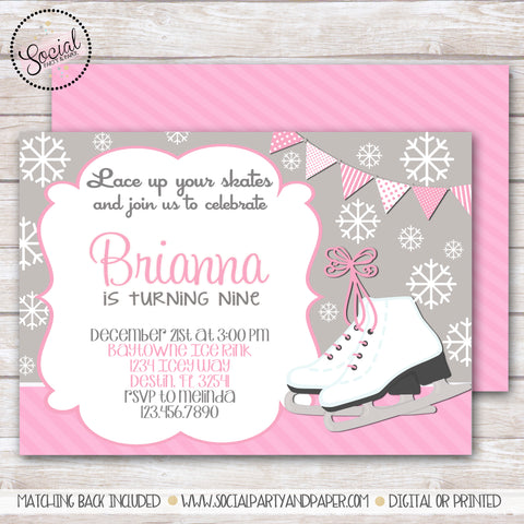 Ice Skating Girl Birthday Party Invitation