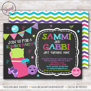 Twins Emoji Sleepover Chalkboard Invitation Girl Birthday Party