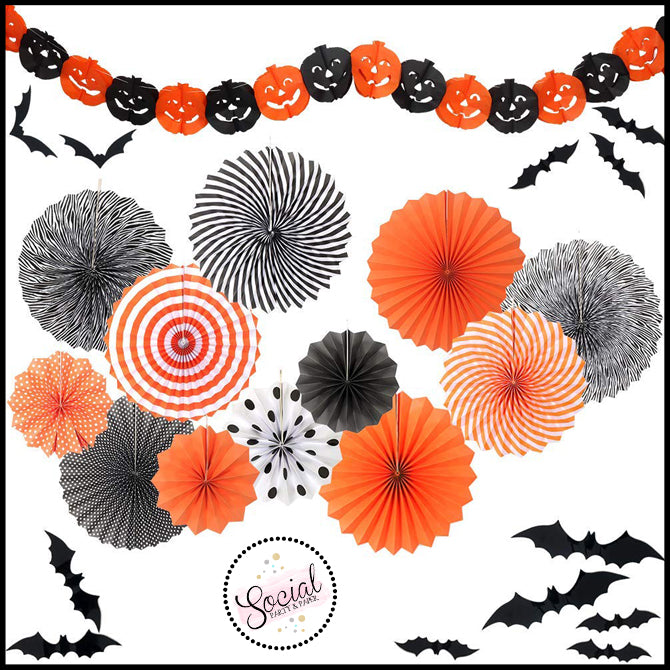 Halloween Decorating Kit - Paper Fans, Banner and Wall Decals