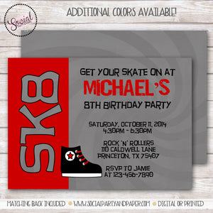 Ice Skate Boy Birthday Party Invitation
