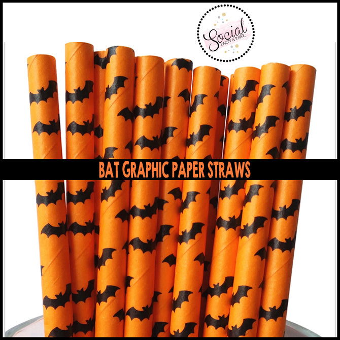 Orange and Black Bat Graphic Paper Straws