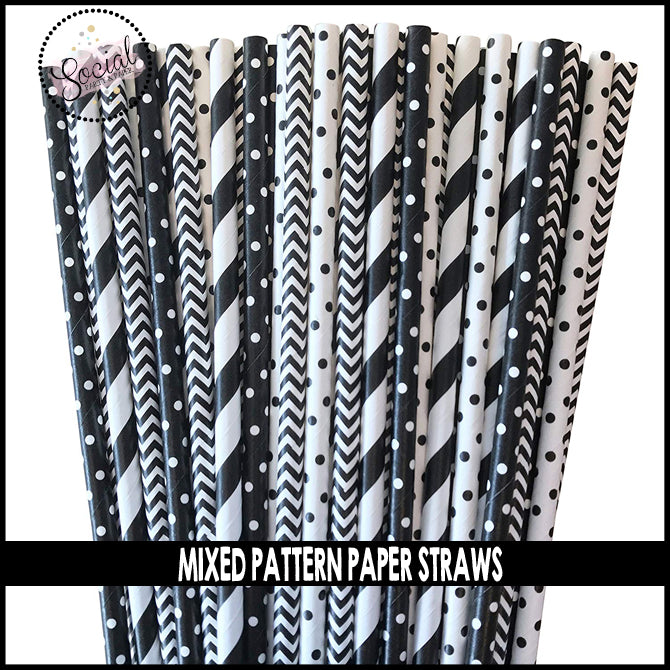 Mixed Pattern Black and Whtie Paper Straws