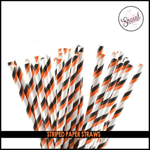 Orange, Black and White Paper Straws