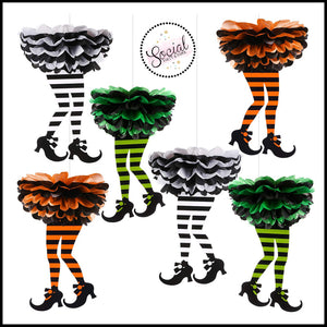 Witch Legs Tissue Paper Pom Hanging Decorations