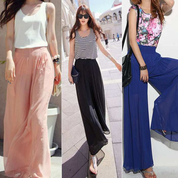 Wide Leg Chiffon Trousers