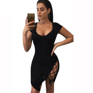 Lace Up Criss Cross Bodycon Dresses