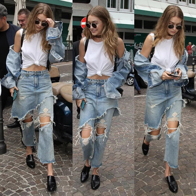 2 Pcs Denim Vintage Hole Ripped Jeans