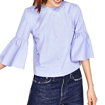 Floral Embroidery Striped Oversized Short Sleeve Blouse - Susoco