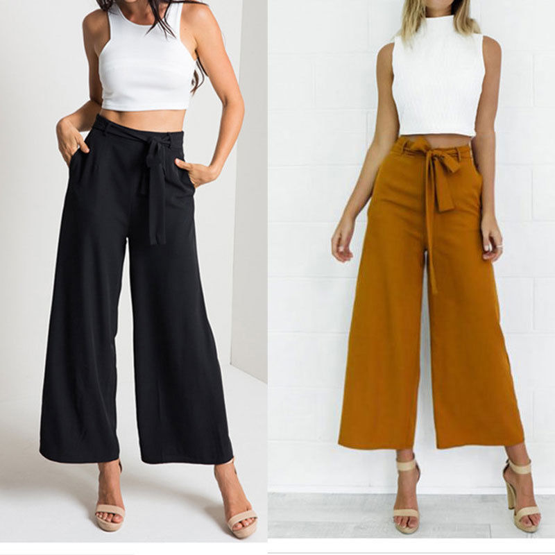 Melanie Off Duty High Waist Tie Pants