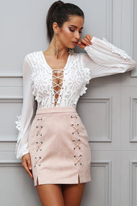 Transparent Lace Up Blouse - Susoco