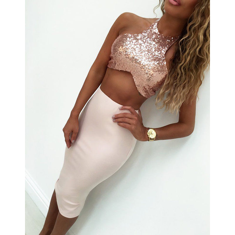 Bodycon Sequin Short High Waist Halter - Susoco