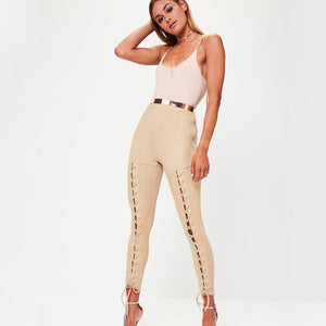 Suede Hollow out Pencil Pants - Susoco