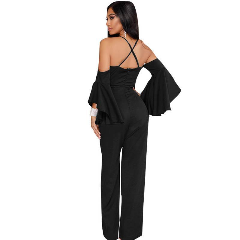 Flare Sleeve Cold Shoulder Jumpsuits