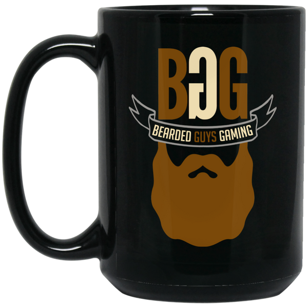 BeardedGuysGaming Single Beard Logo 15 oz. Black Mug