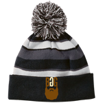 BeardedGuysGaming Single Beard Logo Striped Beanie with Pom
