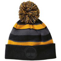 BeardedGuysGaming Dual Beard (Black Logo) Striped Beanie with Pom