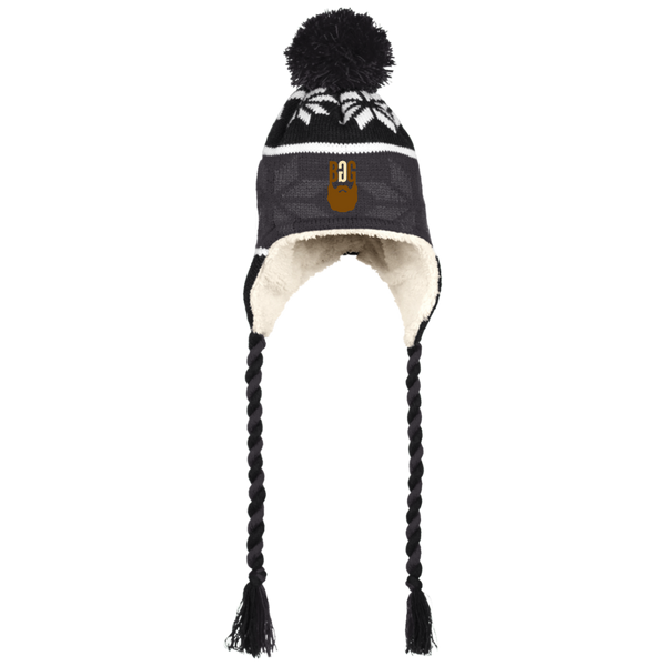 BeardedGuysGaming Single Beard Logo Beanie with Ear Flaps and Braids