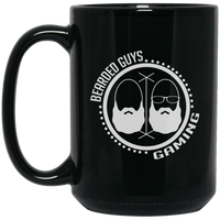 BeardedGuysGaming Dual Beard (White Logo) 15 oz. Black Mug